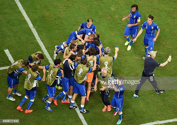Italy celebrate their team's first goal by Claudio Marchisio of Italy during the 2014 FIFA World Cup Brazil Group D match between England and Italy...