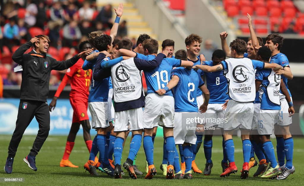 Italy celebrate their win over Belgium during the UEFA European Under-17 Championship Semi Final match between Italy and Belgium at the New York Stadium on May 17, 2018 in Rotherham, England.