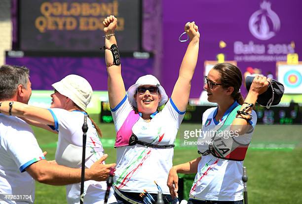 Italy celebrate winning gold in the Women's Archery Team final during day six of the Baku 2015 European Games at Tofiq Bahramov Stadium on June 18...