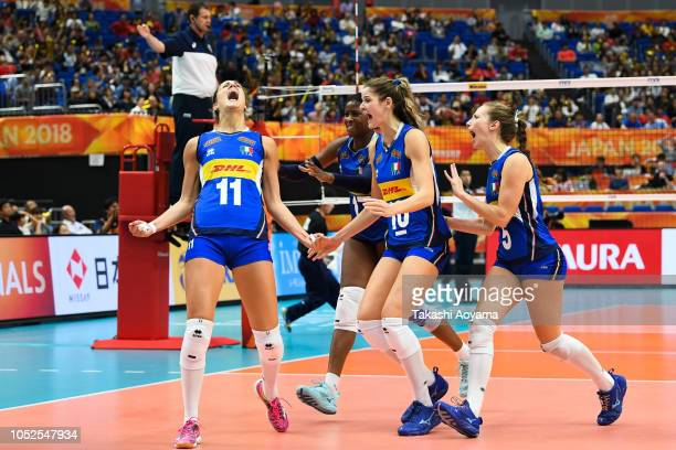 Italy celebrates a point during the FIVB Women's World Championship semi final between China and Italy at Yokohama Arena on October 19, 2018 in...