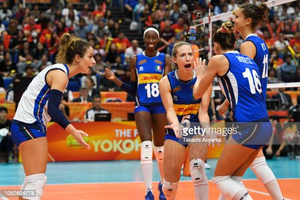 Italy celebrates a point during the FIVB Women's World Championship final between Serbia and Italy at Yokohama Arena on October 20 2018 in Yokohama...