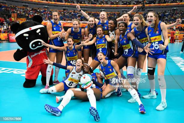 Italy celebrates after defeating China in the FIVB Women's World Championship semi final between China and Italy at Yokohama Arena on October 19 2018...