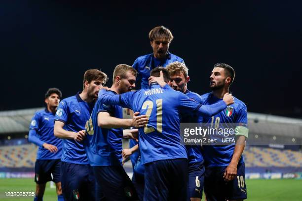Italy celebrates the goal during the UEFA Under-21 Championship 2021 Group Stage match between Italy and Slovenia at Stadium Ljudski Vrt on March 30...