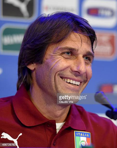 Italy coach Antonio Conte attends an Italy Press Conference at Coverciano on October 6 2014 in Florence Italy