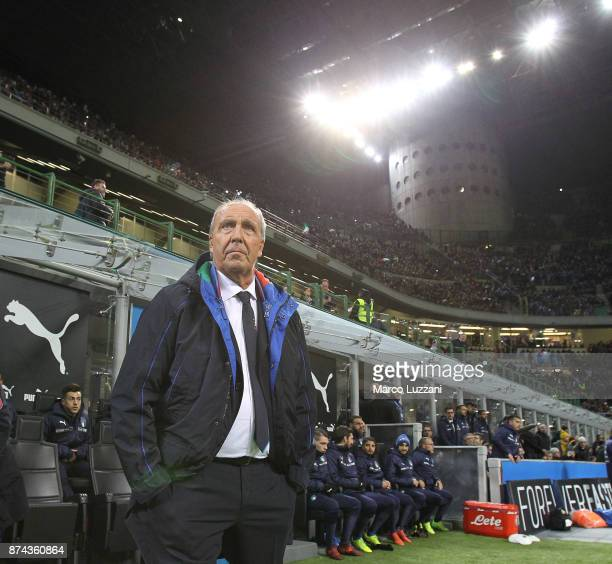 Italy coach Giampiero Ventura looks on before the FIFA 2018 World Cup Qualifier PlayOff Second Leg between Italy and Sweden at San Siro Stadium on...