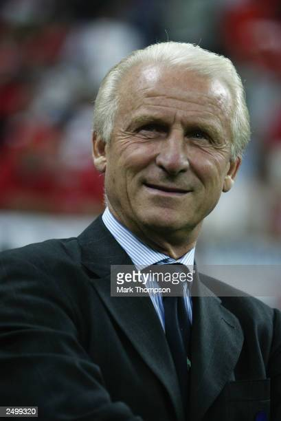 Italy coach Giovanni Trapattoni is all smiles during the Euro 2004 Qualifying Group 9 match between Italy and Wales on September 6, 2003 at the San...