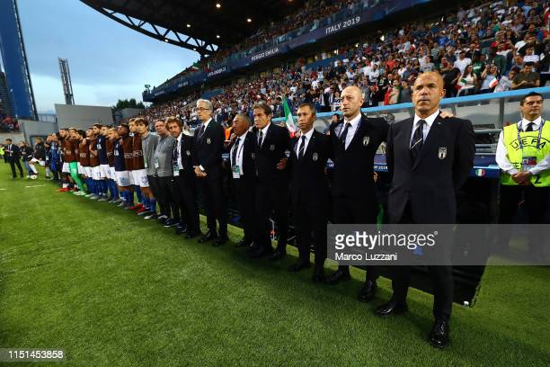 Italy coach Luigi Di Biagio and his staff before the 2019 UEFA U-21 Group A match between Belgium and Italy at Stadio Citta del Tricolore on June 22,...