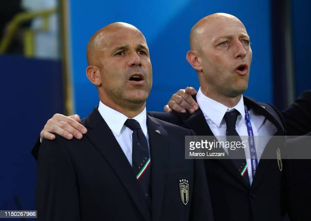Italy coach Luigi Di Biagio looks on before during the 2019 UEFA U-21 Group A match between Italy and Spain at on June 16, 2019 in Bologna, Italy.