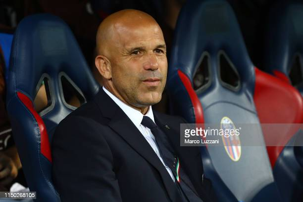 Italy coach Luigi Di Biagio looks on before the 2019 UEFA U-21 Group A match between Italy and Spain at on June 16, 2019 in Bologna, Italy.