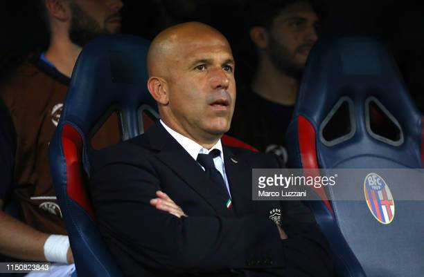 Italy coach Luigi Di Biagio looks on before the 2019 UEFA U-21 Group A match between Italy and Poland at Renato Dall'Ara Stadium on June 19, 2019 in...