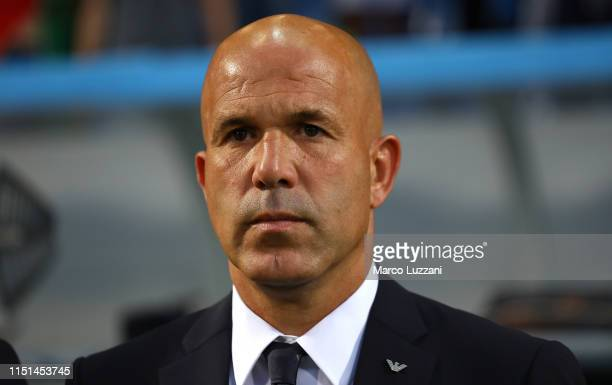Italy coach Luigi Di Biagio looks on before the 2019 UEFA U-21 Group A match between Belgium and Italy at Stadio Citta del Tricolore on June 22, 2019...