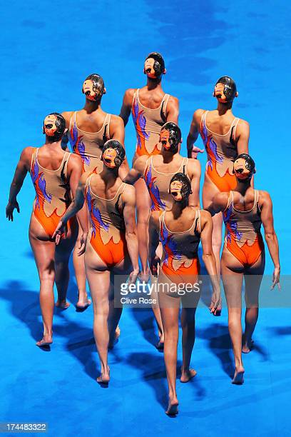 Italy compete during the Synchronized Swimming Team Free Final on day seven of the 15th FINA World Championships at Palau Sant Jordi on July 26 2013...