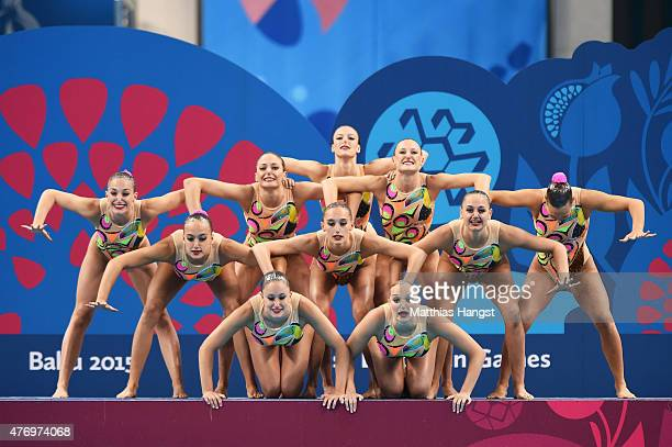 Italy compete in the Synchronised Swimming Free Combination quailification during day one of the Baku 2015 European Games at Baku Aquatics Centre on...