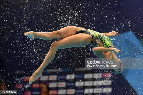 TOPSHOT Italy competes in the team free routine final at the Scotstoun Sports Campus during the 2018 European Championships in Glasgow on August 4...