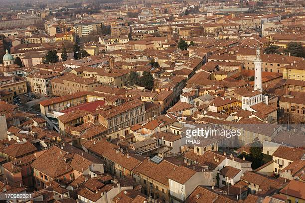 Italy. Cremona. Overview of the old city from the bell tower of the Cremona Cathedral, known commonly by Torrazzo. Lombardy.