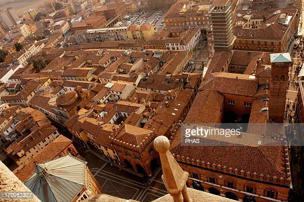 Italy Cremona Overview of the old city from the bell tower of the Cremona Cathedral known commonly by Torrazzo Lombardy