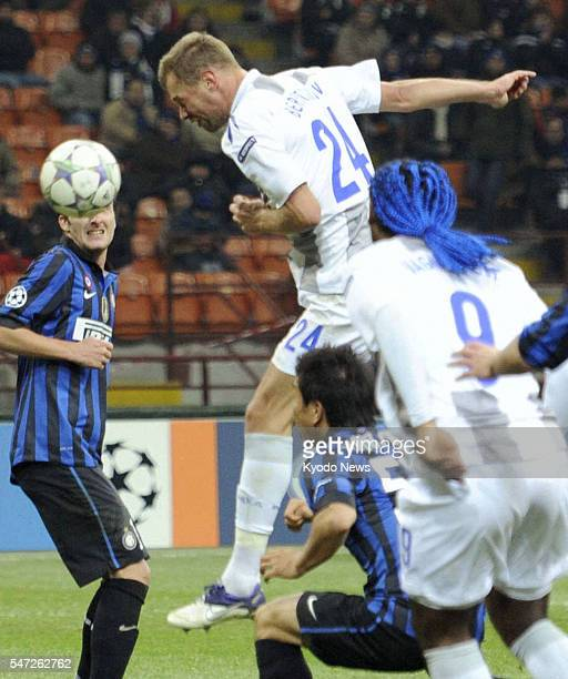 Italy - CSKA Moscow defender Vasili Berezutski scores the winning goal with a header during the second half of a Champions League game against Inter...