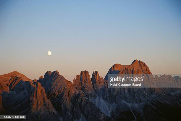 Italy, dolomites, sunset, moon rising