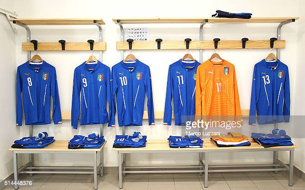 Italy dressing room prior to the U18 international friendly match between Italy and Switzerland on March 9 2016 in Lecco Italy