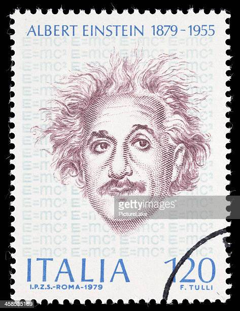 italy einstein postage stamp - albert einstein stock pictures, royalty-free photos & images