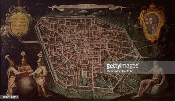 Italy Emilia Romagna Bologna Pepoli Palace Museum of the History of Bologna Whole artwork view Ancient map of the city of Bologna with inscriptions...