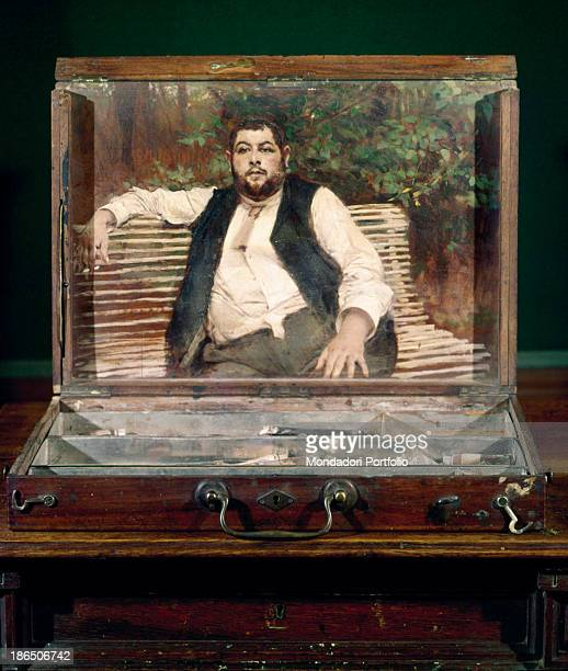 Italy Emilia Romagna Ferrara Giovanni Boldini Museum Whole artwork view Boldini painted on the inner cover of a colors box a portrait of the gardener...