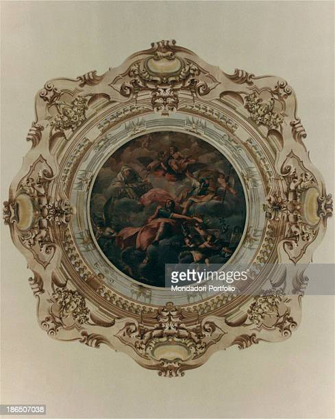 Italy Emilia Romagna Forlì Lombardini Monsignani Palace Detail Detail of one of the roundels of the ceiling of the Salon