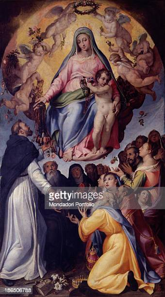 Italy Emilia Romagna Modena Metropolitan Seminary Whole artwork view In the upper part of the painting Mary sits on a cloud with the child surrounded...