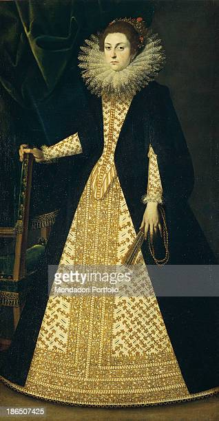 Italy Emilia Romagna Piacenza Civic Collections of Palazzo Farnese Whole artwork view A young lady is portrayed in courtly clothes with a long...