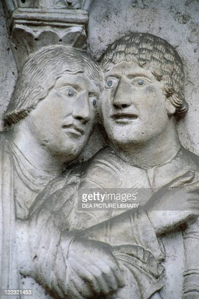 Italy Emilia Romagna Region Modena Cathedral Façade Wiligelmo Stories from Genesis Detail 12th century Marble Basrelief