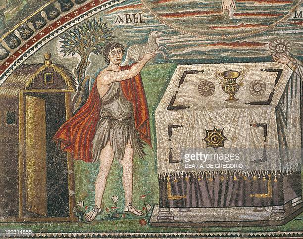 Italy Emilia Romagna Region mosaic depicting Abel offering a Lamb to God by an altar scenes from Abraham's life