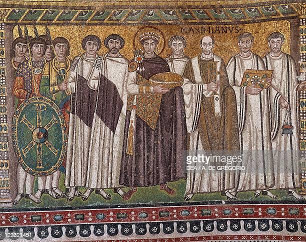 Italy Emilia Romagna Region mosaic depicting emperor Justinian and followers