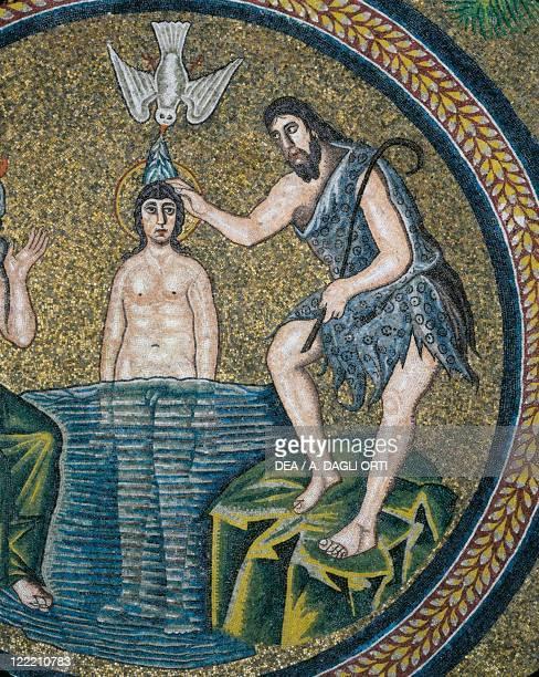 Italy Emilia Romagna Region Ravenna Arian Baptistery Cupula Baptism of Christ Detail of Mosaic Early 6th century