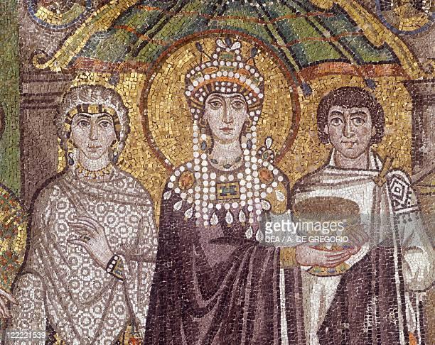 Italy Emilia Romagna region Ravenna Basilica of San Vitale Apse mosaic 6th century Detail with Empress Theodora 538545