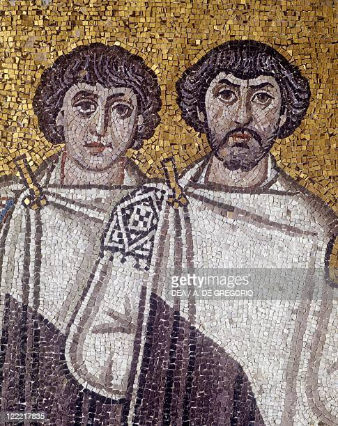 Italy Emilia Romagna region Ravenna Basilica of San Vitale Presbytery 6th century Apsidal Byzantine mosaic Detail with the Emperor Justinian and his...
