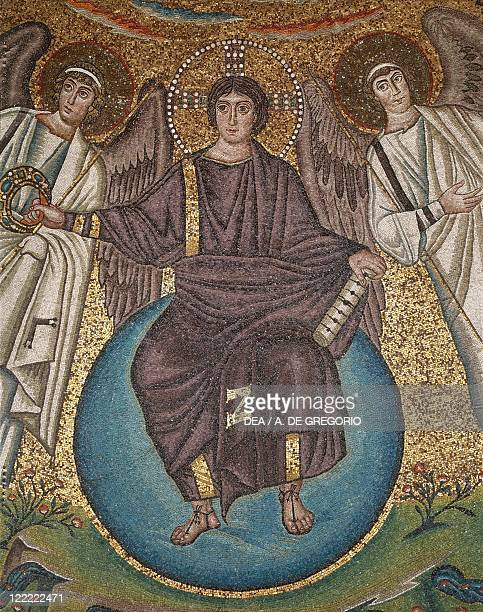 Italy Emilia Romagna region Ravenna Basilica of San Vitale presbytery Jesus Christ the Redeemer with two angels apse Mosaic detail