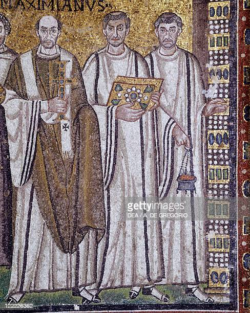 Italy Emilia Romagna region Ravenna Basilica of San Vitale Presbytery Apsidal Byzantine mosaic 6th century Detail with the Emperor Justinian and his...