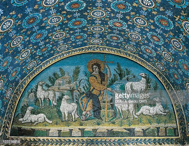 Italy Emilia Romagna Region Ravenna Mausoleum of Galla Placidia interior Lunette mosaic portraying the Good Shepherd first half of the 5th century
