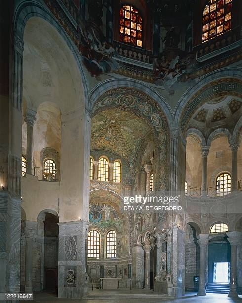 Italy Emilia Romagna Region Ravenna presbytery and Apse with mosaics in Basilica of San Vitale