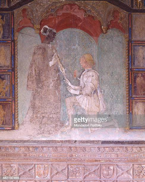Italy Emilia Romagna TorrechiaraLanghirano Torrechiara Castle Gloden Camera Detail Detail of a dame standing receivng a sword by the knight kneeling...