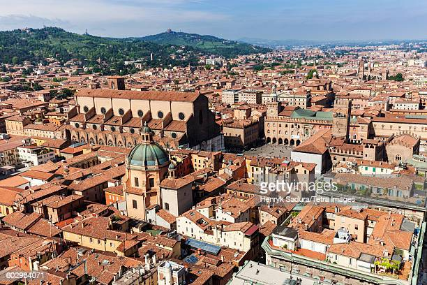 Italy, Emilia-Romagna, Bologna, Aerial view of old town