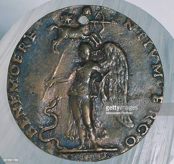 Italy, Emilia-Romagna, Bologna, Museo Civico Archeologico, Total of the back, Winged woman with cane, corn and snake, Above, a star and the symbol of...