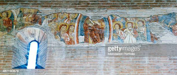Italy EmiliaRomagna Carpi Curch of the Sagra Detail Ascension of Christ among apostles Fresco of the nave