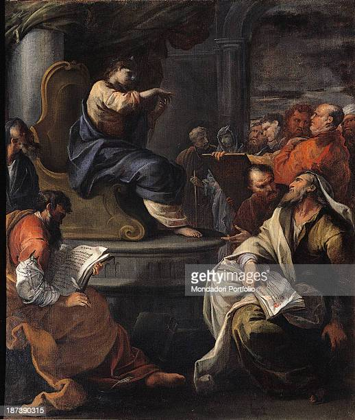 Italy EmiliaRomagna Ferarra Curia Arcivescovile All Christ among the doctors who keep the Holy Scriptures papers tables and books in their hands On a...