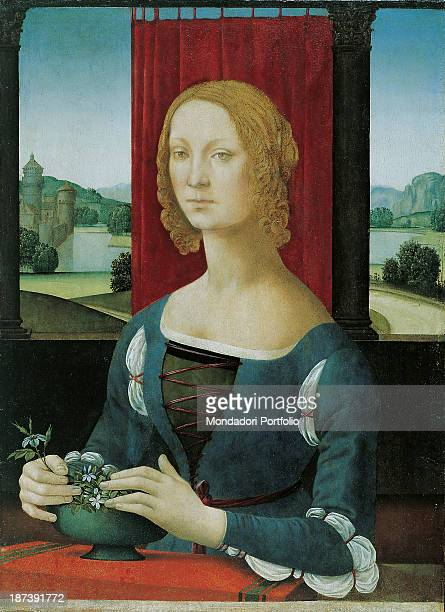 Italy EmiliaRomagna Forlì Pinacoteca Civica Melozzo degli Ambrogi Total Bust of woman with curly blond hair framing the face without reaching the...