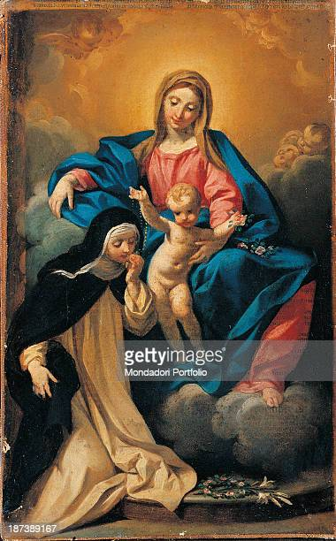 Italy EmiliaRomagna Modena Museo Civico d'Arte Virgin Mary on a cloud with the Child in her arms Saint Rosa kisses a rosary held by Jesus