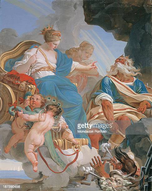 Italy EmiliaRomagna Parma Palazzo Marchi Sitting on a cart her head encircled with a crown the divinity Juno is with Aeolus Keeper of the Winds and...