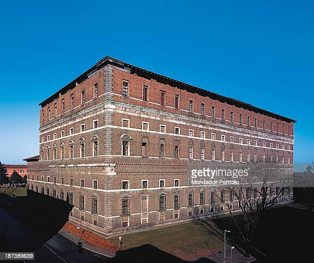 Italy EmiliaRomagna Piacenza Palazzo Farnese All Angular view of the austere façade without orders There are tabernacle windows and ashlar cantonals