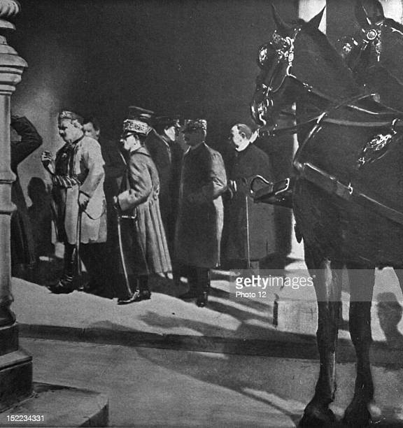 Italy Exiled King Nicholas of Montenegro arriving in Rome He is accompanied by his soninlaw the king of Italy and his son Prince Peter