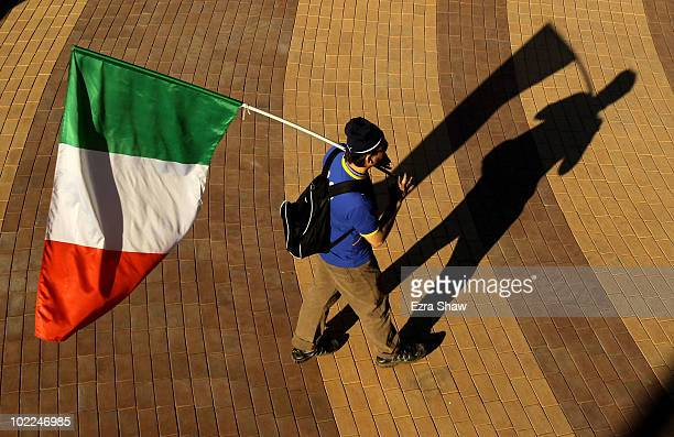 Italy fan enjoys the atmosphere ahead of the 2010 FIFA World Cup South Africa Group F match between Italy and New Zealand at the Mbombela Stadium on...
